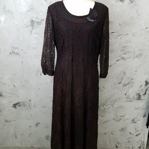 MYENETTE 40's Vintage Dark Brown Lace Dress